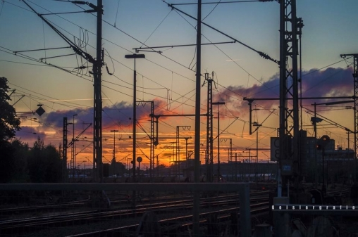 Sunset at the railway station of oldenburg